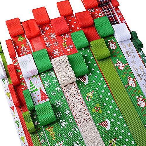 Queta Nastro di Natale con Decorazioni Colorate, Confezione Regalo, Fiocchi per Capelli, Decorazioni per Matrimonio