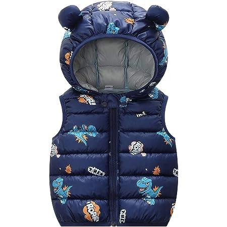 Niños Invierno Chaleco Chaqueta Infantil Chaleco Niñas Sin Mangas Ligero Acolchado Cálido Azul 2-3 Años