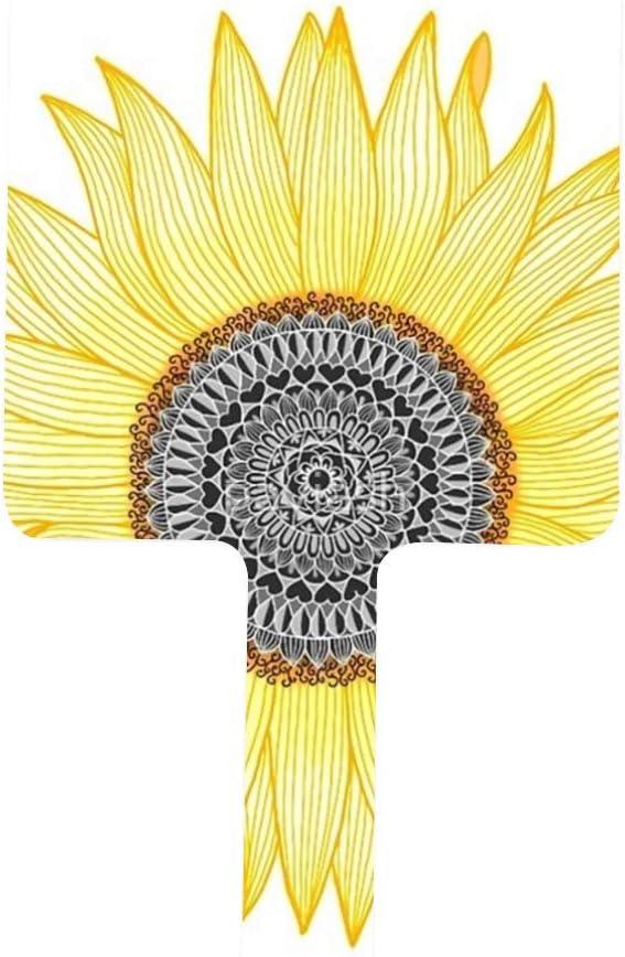 Max 47% OFF Golden Mandala Sunflower Portable Handle Mi Makeup Mirror OFFicial site Square