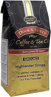 Door County Coffee, Highlander Grogg, Irish Creme and Caramel Flavored Coffee, Medium Roast, Ground Coffee, Best-Seller, 10 oz Bag