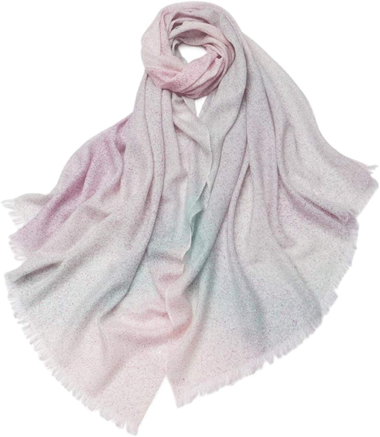 CHX Scarf Winter Keep Warm Woman Soft color Inkjet Large Shawl 200cm×70cm V (color   Purple Gradient)