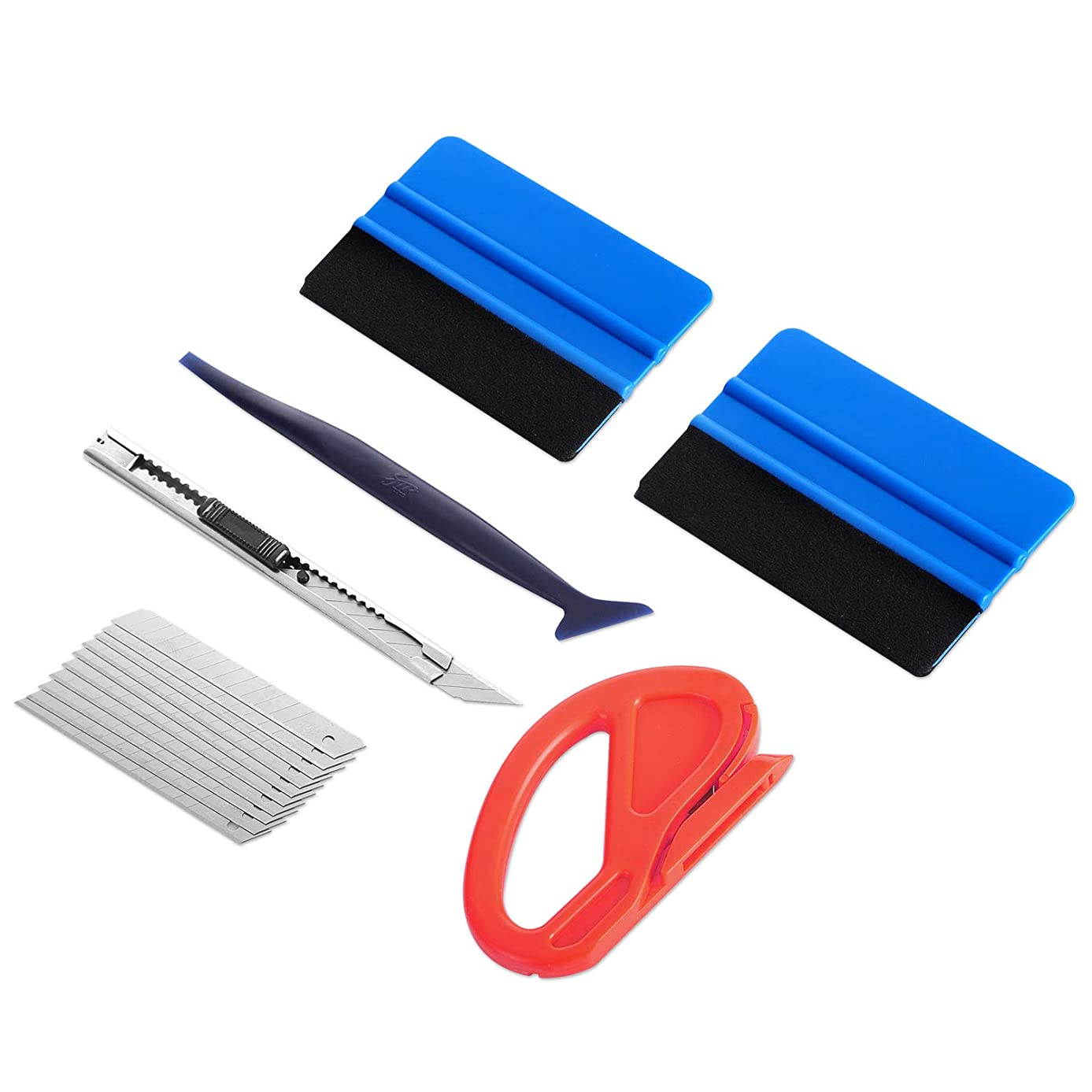 GISSVOGEEK Car Vinyl Wrap Tools Vehicle Window Tint Tool Kit with Felt Squeegee, Vinyl Cutter Knife, Mini Squeegee, Utility Knife and Blades