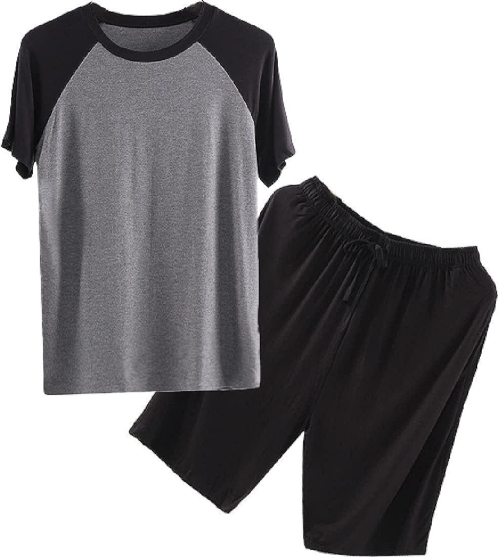 Cromoncent Mens' Short Sleeve Woven Loungewear Pajamas Set