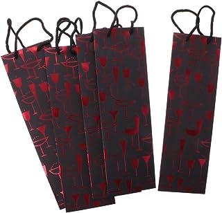 ノーブランド品 ワインバッグ 手提げ袋 ボトルバッグ ワインケース 収納袋 ワイン ギフト プレゼント 贈り物に  全3色 5枚 - レッド