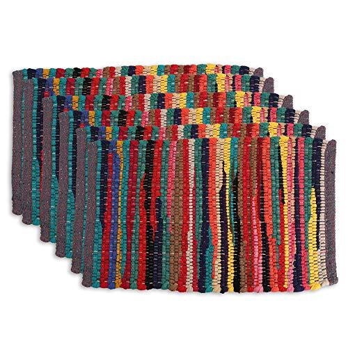 RAJRANG BRINGING RAJASTHAN TO YOU Mantel Individual Rectangular de chindi para Mesa de Comedor - Algodon, Lavable, Antideslizante, Mantel - Juego de 6 - Multi - 48,3 x 33 x 0,8 cm