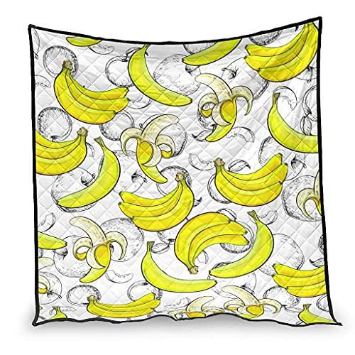 OwlOwlfan Colcha de edredón para invierno con diseño de plátanos y frutas y antialergia, fácil de cuidar, hipoalergénica, 200 x 230 cm