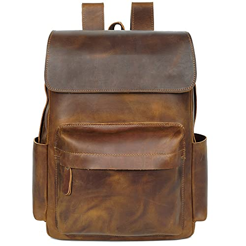 a21b656dc716 S-ZONE Casual Crazy Horse Real Genuine Leather Backpack Fashion Bag Daypack