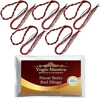 Yogic Mantra Nazar Battu Laal Dhaga (5 Handmade Red Holy Thread Bracelet Lal Kalava Raksha Sutra - Made From 4 Silk Strings Each) Energized Sacred Evil Eye Protection Anklets For Men, Women & Children