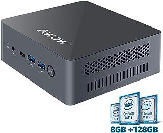 Mini PC AWOW Mini Desktop Computer Windows 10 Intel Celeron J4115 with 8GB DDR4/ NVMe M.2 128GB SSD with Triple Display 4K@60Hz,Extended SSD 2TB, Dual Band WiFi,HDMI2,USB4,BT5.0,Gigabit Ethernet