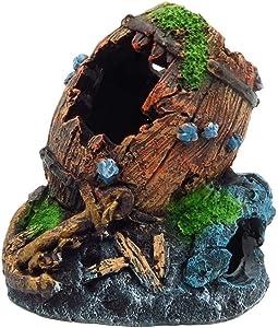 LEFVNPETS Aquarium Decoration, Resin Broken Barrel Fish Tank Ornament, Betta Fish Accessories Aquatic Caves Hide Hut for up to 20 Gallon Tank