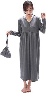 NISHIKI[ニシキ] トラベルパジャマ ルームワンピース レディース 長袖 巾着付 ストレッチ生地 シワになりにくい ロング 旅行 出張 ルームウェア ネグリジェ 部屋着 かわいい 無地 シンプル