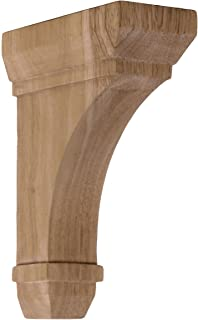 6-Pack , Red Oak Ekena Millwork COR04X04X14RERO-CASE-6 4 inch W x 4 inch D x 14 inch H Recessed Groove Corbel