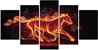 Canvas Wall Art Horse Decor - Fire Running Horse Painting Modern Home Decoration for Living Room Abstract Kitchen Bedroom Set 5 Piece Office Poster Picture Frame Animal Print Artwork Ready to Hang