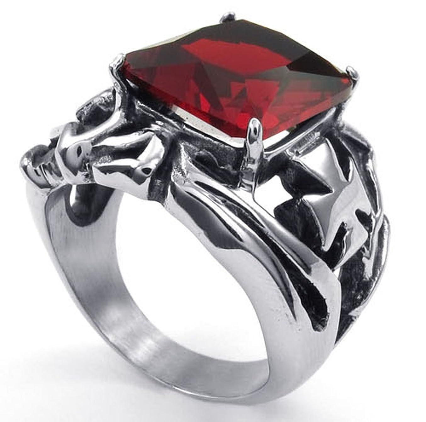 ミット金曜日シャイPW 高品質チタンとステンレス 赤宝石指輪 23482 【ラッピング対応】