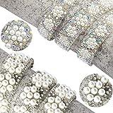 HUIJUNWENTI 1 Yard/Los ABS runde Perlen-Korn-Ordnungs-Strass-Dekoration Strass-Band Kristall Applikationen for Kleidung Schuhe Machen (Color : A B 2yards)