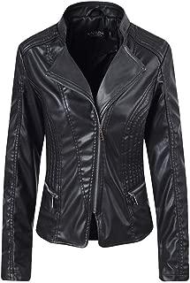 DISSA P1893 Women Faux Leather Biker Jacket Slim Coat Leather Jacket