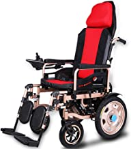 Heavy Duty Electric Wheelchair with Headrest,Foldable and Lightweight Powered Wheelchair,seat Width: 45cm,Joystick,Folding Power Or Manual Wheelchair for Disabled Elderly Adults(li-ion Battery)