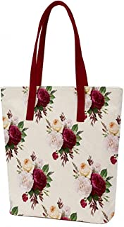 Crazy Corner Multi-Colour Roses Printed Canvas Tote Bags For Women With Zip 16 X 14 Inches  Handbag For Women With Zip/Wom...