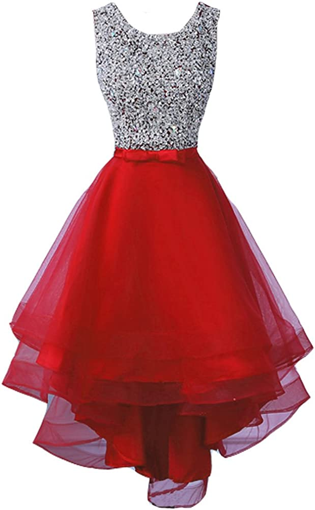 Lemai Women's Sheer Beaded Scoop Neck High Low Prom Party Dress