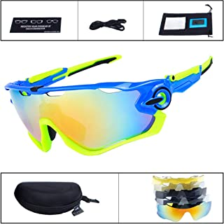 OBAOLAY Polarized Sports Sunglasses for Men Women, Cycling Sun Glasses with 5 Interchangeable Lens UV Protection Anti Glare Mirrored Coating Eyewear for Running Baseball Golf Fishing Driving Climbing