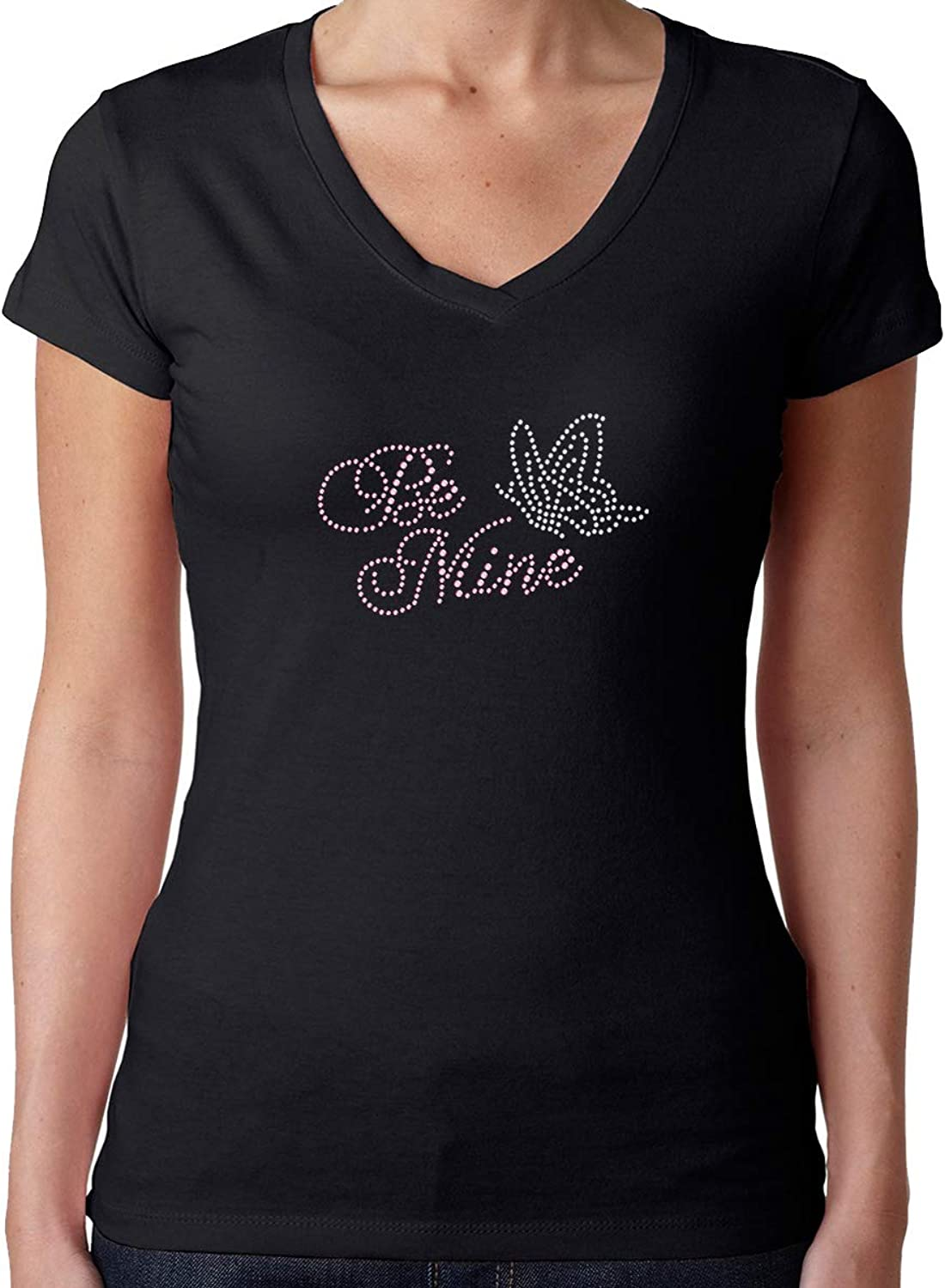 Womens TShirt Rhinestone Bling Black Fitted Tee Be Mine Pink Butterfly