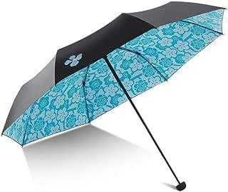 XIAO Umbrella, Waterproof Parasol, Sunscreen Umbrella, Three Fold Lightweight Portable Black Plastic Small Black Umbrella, Anti-UV Sun Umbrella, Folding Size: 29cm Happy day (Color : Light blue)
