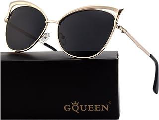 38a7f1a4e37 GQUEEN Women s Oversized Polarized Metal Frame Mirrored Cat Eye Sunglasses  MT3