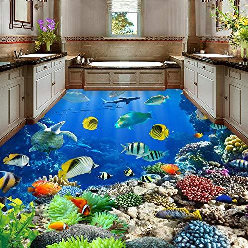 Pegatinas De Suelo Personalizadas Imágenes Hermoso Fondo Marino Mundo Criaturas Tropicales Baño Baño Piso 3D Sala De Estar Pvc Autoadhesivo