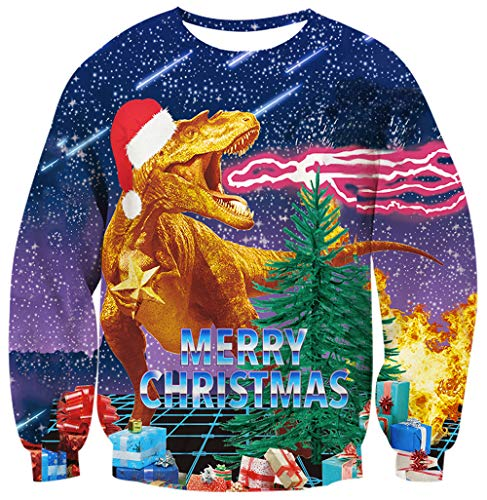 Men Women Ugly Christmas Sweater 3D Printed Dragon in Navy Blue Purple Meteor Sky Tops Coat Novelty Merry Christmas Party Hipster Costume Pullover Sweatshirt for 80s 90s Young Bro M