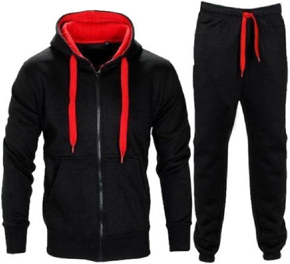 New Mens Contrast Max 76% OFF Drawcord Fleece Zip Top Bottom Hooded Up Jogsu low-pricing