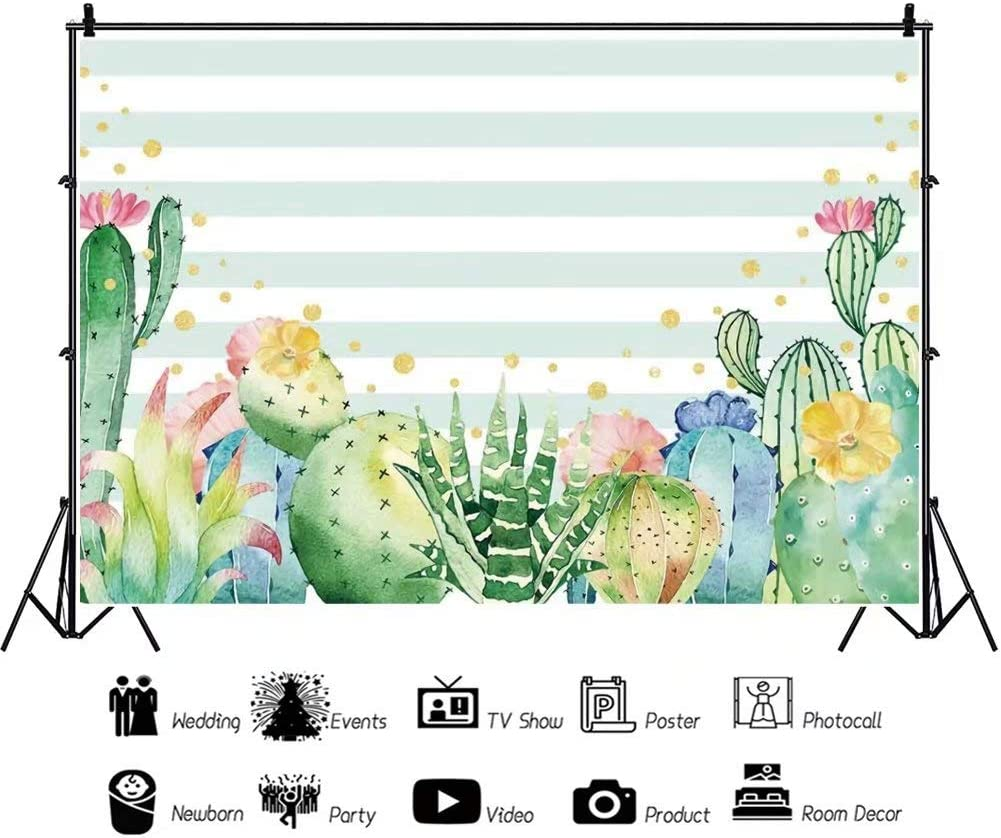 DaShan 14x10ft Cactus Floral Baby Shower Party Backdrop Fiesta Bridal Shower Banner Cactus Desert Party Flowers Mexican Theme Birthday Photography Background Happy Birthday Photo Studio Props