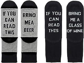 If You Can Read This Bring Me A Glass of Wine Beer,Calcetines de Hombres Mujeres para Regalo de Año Nuevo Navidad Estreno de una Casa Cumpleaños 2 Pares