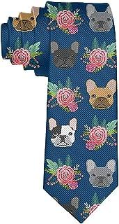 Cravatta Divertente Cravatte Bulldog francese Blu navy Moda Ampia novit/à Cravatte da uomo Teen