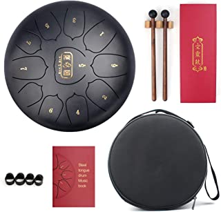 QStyle Tongue Drum Hang Drums 10 Inch Stainless Steel Pan for Sound Healing, Meditation, or Yoga, Includes Rubber Mallets&Padded Travel Bag.