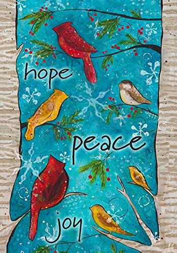 Toland Home Garden Peace Birds 28 x 40 Inch Decorative Winter Holiday Bird Joy Hope House Flag - 102535