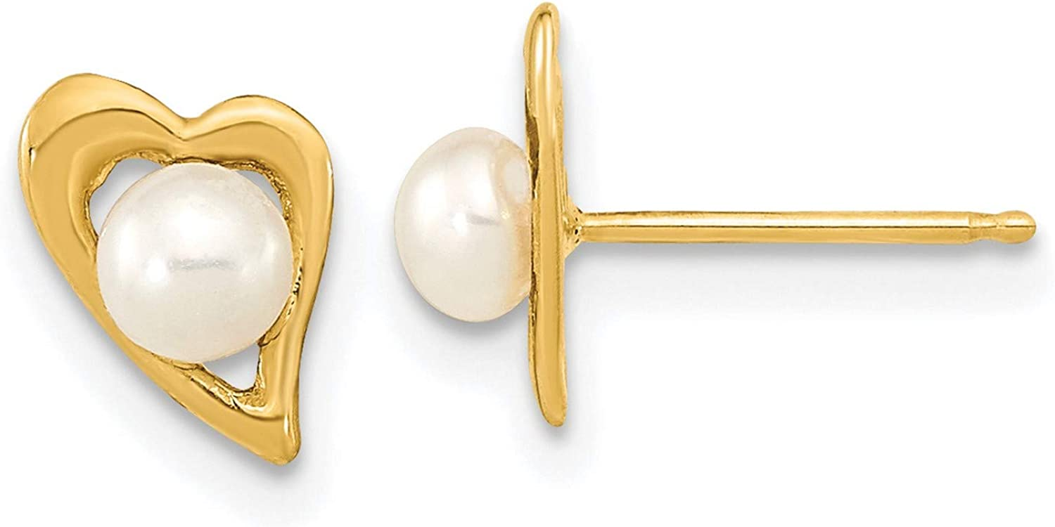14k Yellow Gold 3-4mm Button Freshwater Cultured Pearl Post Earrings 8.9x6.7 mm