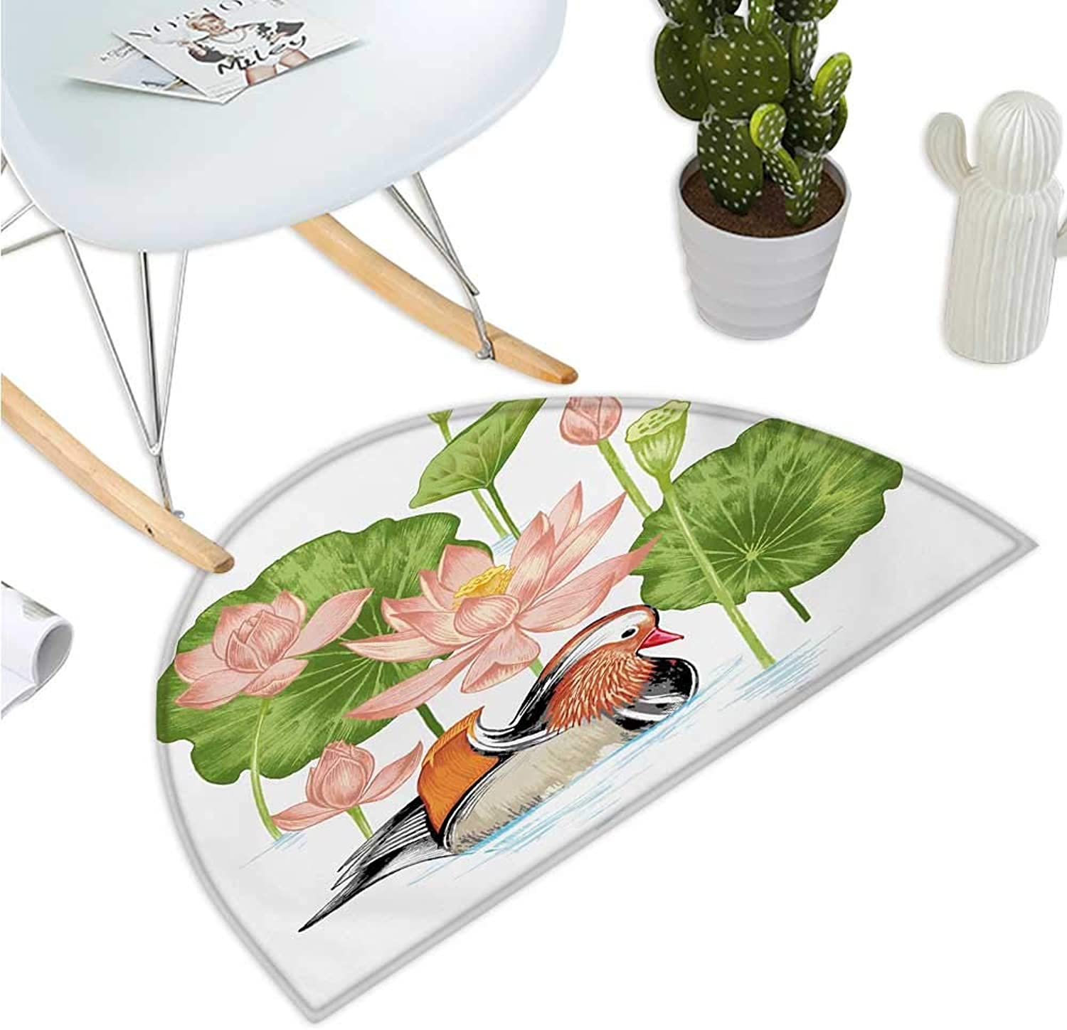 Rubber Duck Half Round Door mats Baby Mandarin Duckling in Pond with Lotus Lily Flowers Water Painting Bathroom Mat H 47.2  xD 70.8  White Green and Pink