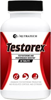 Nutratech Testorex Testosterone Test Booster Increases Testosterone Levels, Energy, Muscle Mass, and Accelerates Fat Loss,60 Tablets