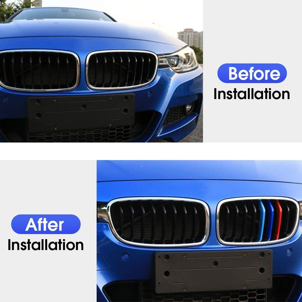 3D Front K/ühlergrille F/ür BMW X1 2009-2015(7 Gitter)Frontgrill Zierleisten Nieren K/ühlergrill Kappe Schnalle Streifen Trim Grille Abdeckung Aufkleber 3 St/ück