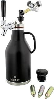 Pressurized Beer Growler 64oz Stainless Steel with Logo – Pressurized Growler Beer Dispenser CO2 Growler, Regulator, Tap