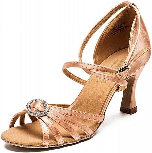 BYLE Sangle de Cheville Sandales en Cuir Chaussures de Danse Modern'Jazz Samba Chaussures de Danse Latine Les Femmes Adultes Soft Bas National Standard Chaussures de Danse