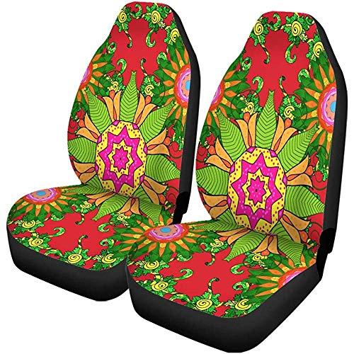 Enoqunt autostoelhoezen Floral Mandala in roze turquoise groen en pale universele auto voorkant Seat Protector