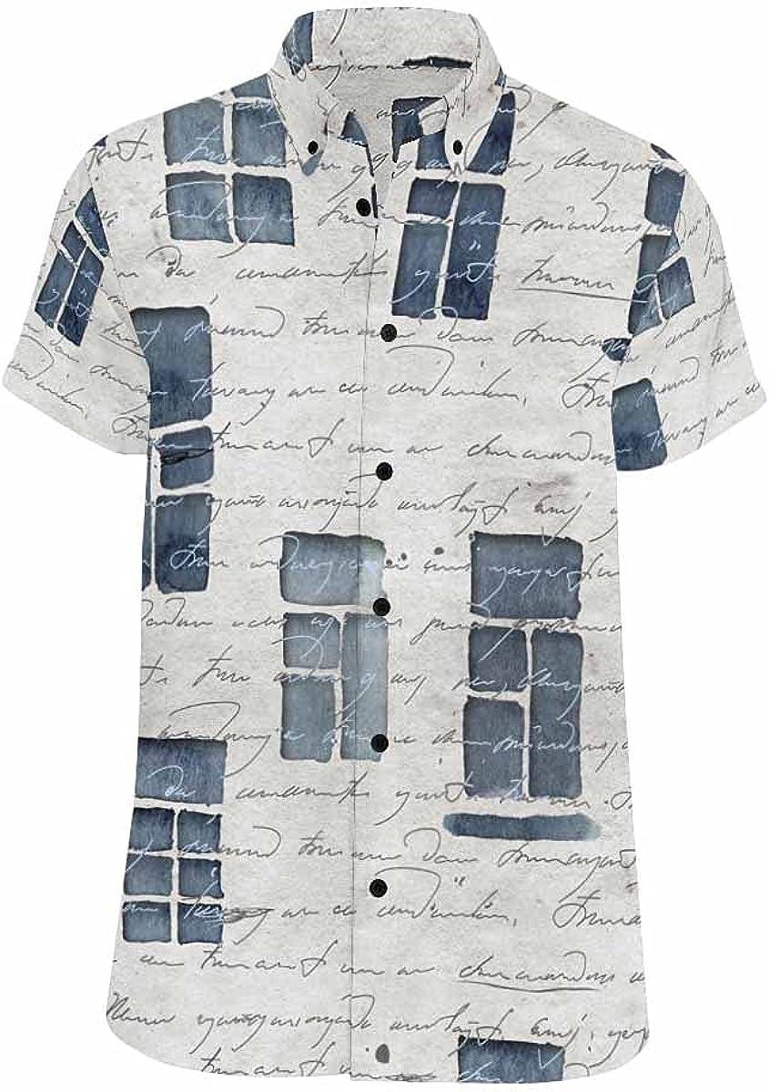 InterestPrint Watercolor Sunflowers Leaves Men's Summer Short Sleeve Button Down Hawaiian Casual Shirt
