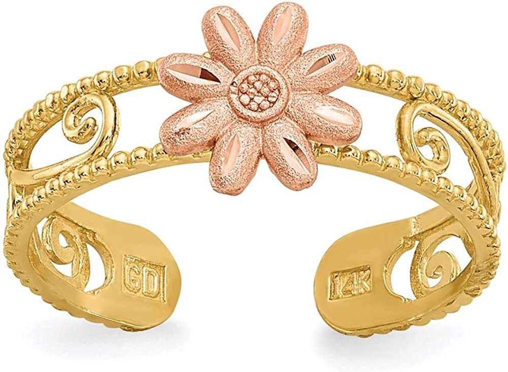 CoutureJewelers 14k Two-Tone Flower Toe Ring