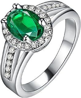 Uloveido Red CZ Crystal Halo Statement Rings Women Fashion Silver Plated Jewelry PJ139