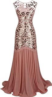 1920s Floor-Length V-Back Sequined Embellished Prom Evening Dress D20S004