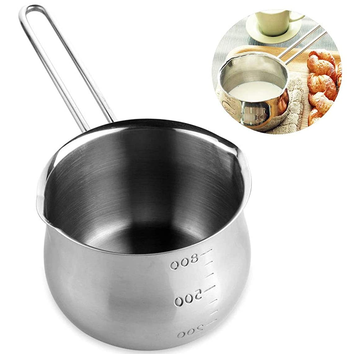 POIUCVXC 1Pc Stainless Steel Non-Stick Saucepan Flat Bottom Induction Cooker Soup Milk Pan 12cm