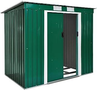 comprar comparacion TecTake Cobertizo caseta de jardín metálica de Metal Invernadero almacén | + fundación Modelos (Tipo 2 | Verde | no. 402183)