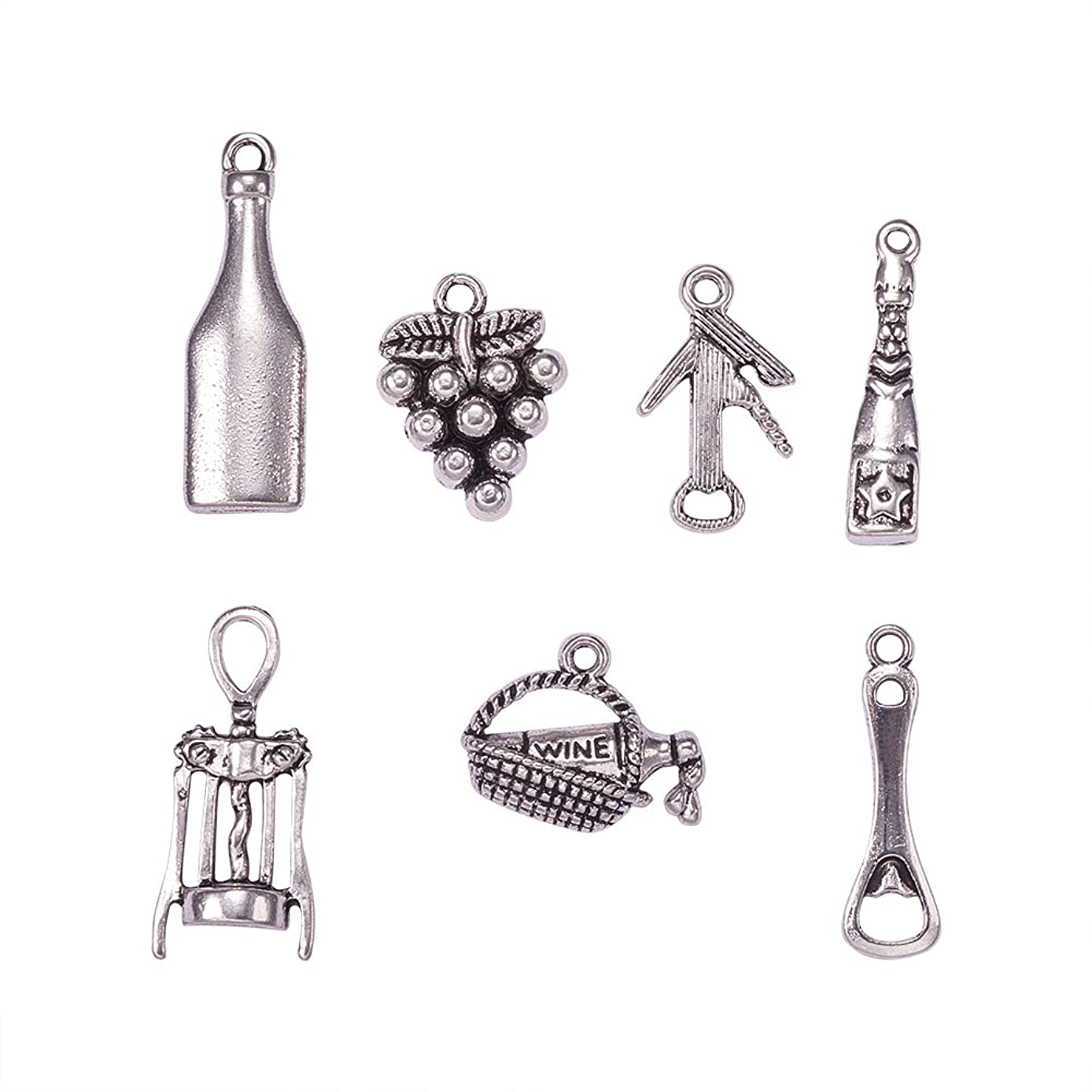 PH PandaHall 35pcs 7 Styles Wine Theme Charms Antique Silver Alloy Pendants Charms for DIY Necklace Bracelet Jewelry Making (Tasting Wine, Grape, Cocktail, Glass Wine Opener)