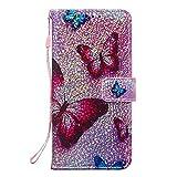 Coopay Housse Coque pour Samsung Galaxy A70 A705 Fantaisie Motif Papillon Rose Vif Étui a Rabat...